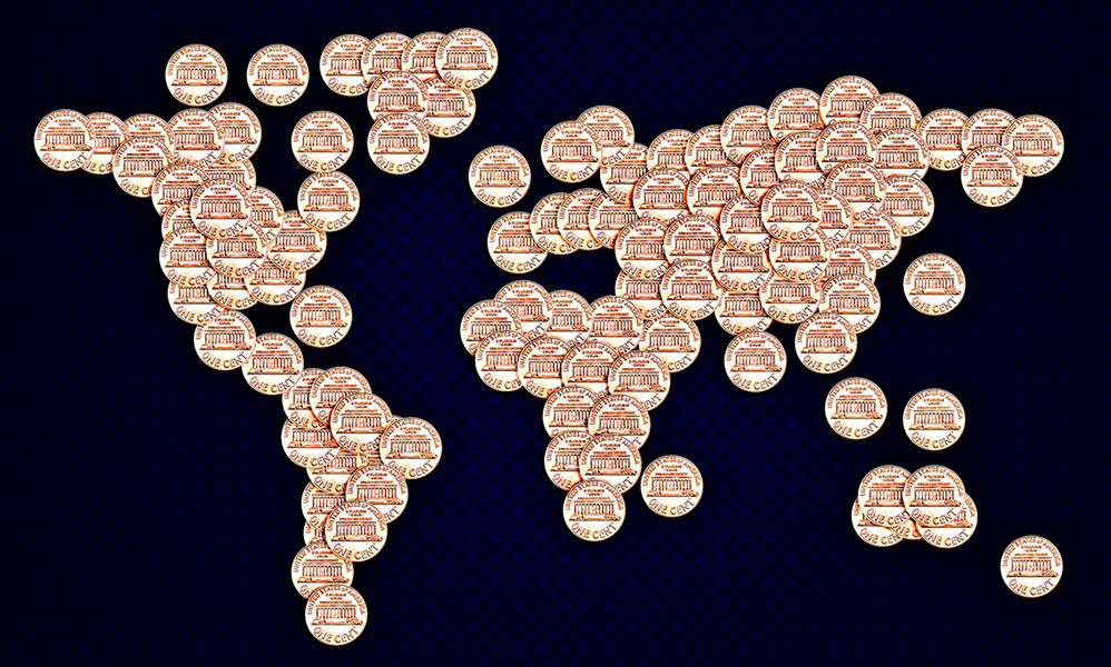 World map made by US Coins