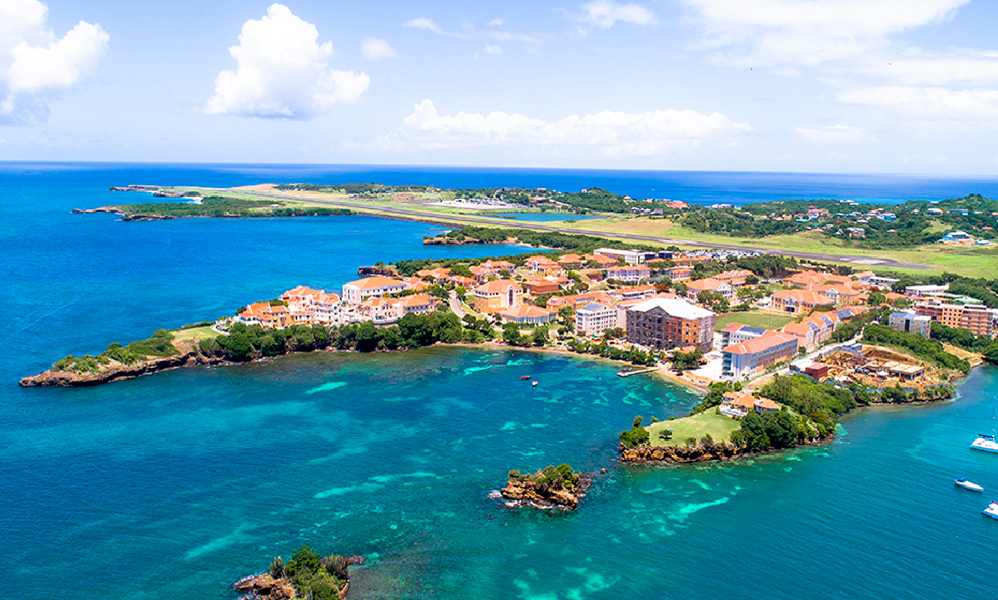 Aerial view of St. George's University Grenada